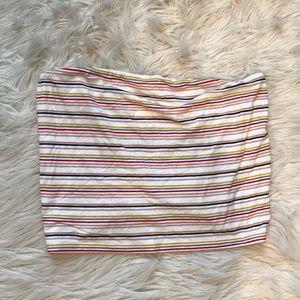 Multicolor stripe strapless tube top